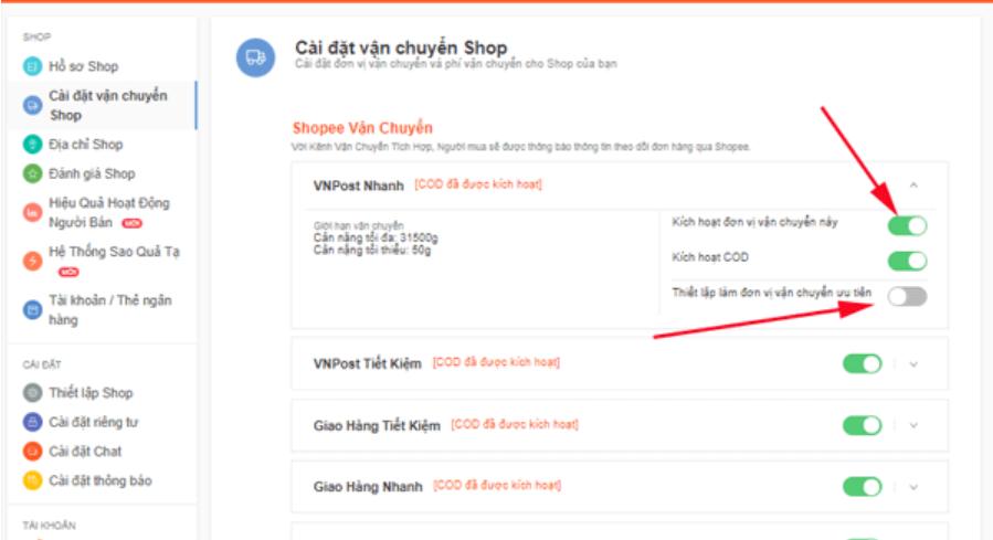 Cài đặt vận chuyển cho Shop online trên Shoppe