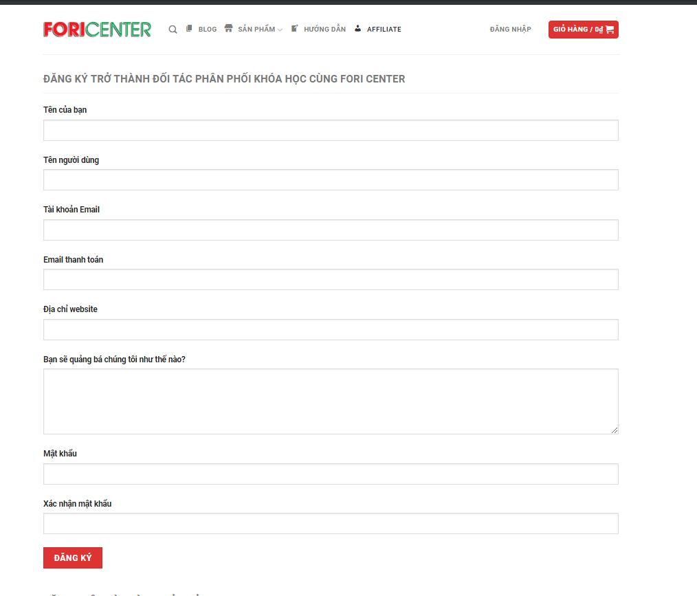 hướng dẫn đăng kí affiliate với Fori Center